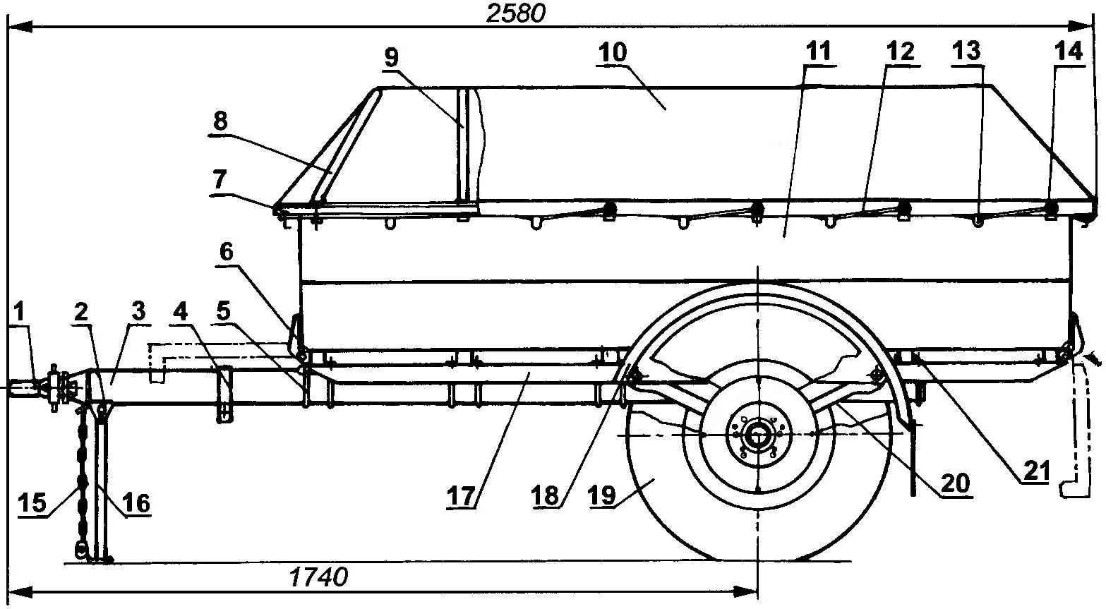 Прицеп для мотоблока нева чертежи с тормозами